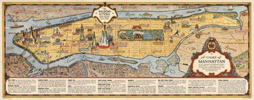 16-034-x40-5-034-Pictorial-Chart-Map-of-Manhattan-New-York-1936-Vintage-Historic-Poster
