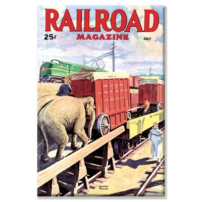 Buyenlarge Railroad Magazine: The Circus On The Tracks, 1946 Canvas Wall Art