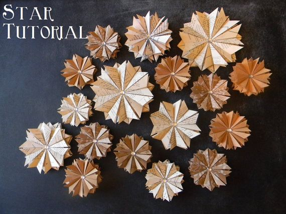 news paper stars. This tutorial is ONLY for the pointed stars not the 2 smaller brown zig-zag stars.