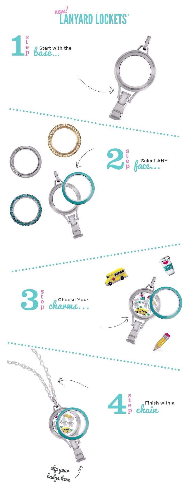 Rock your badge at work with style! New lanyard lockets with exchangeable twist faces! #locketsbycourt www.DazzlingLockets.origamiowl.com
