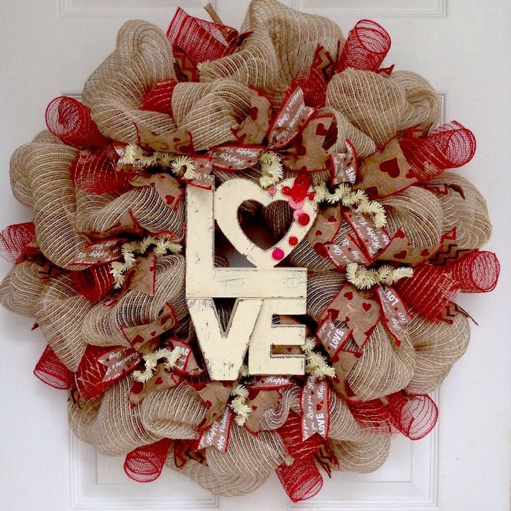 Love Button Natural Burlap Valentines Day Deco Mesh Wreath in Home & Garden, Hol...