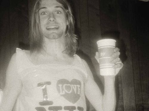 Kurt Cobain drinking coffee.