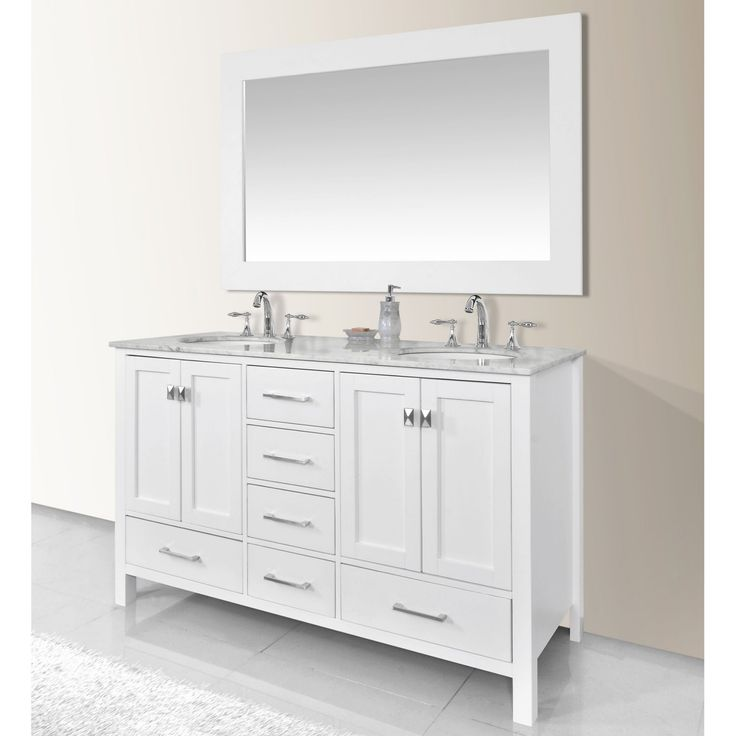 Stufurhome 60 in. Malibu Pure White Double Sink Bathroom Vanity - GM-6412-60PW-CR