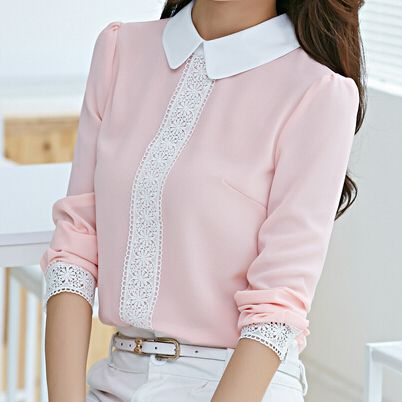 2015 Spring Women Solid Pink White Chiffon Blouse Korean Cute OL Shirt Peter Pan Collar Puff Sleeve Patchwork Blusas Femininas