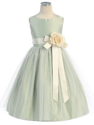 White Satin Flower Girl Dress with Tulle skirt