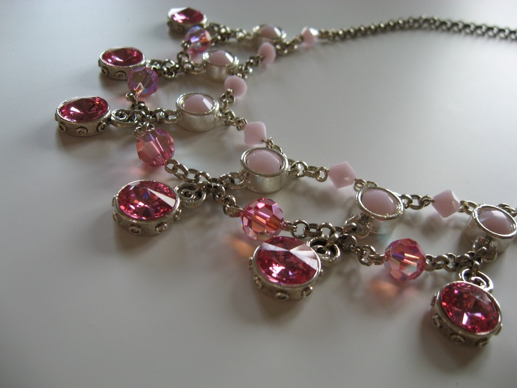 necklace with Rose AB and Rose Alabaster Swarovski Elements