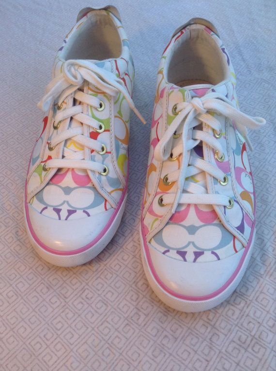 Coach pink white sneakers shoes women's size 10 10.5 blue ...