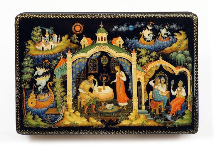 "Шкатулка ""Аленький цветочек"", автор Рудина Клавдия, Палех, 2016  Palekh, Russian lacquer art, Russian fairytale, Lacquer boxes."