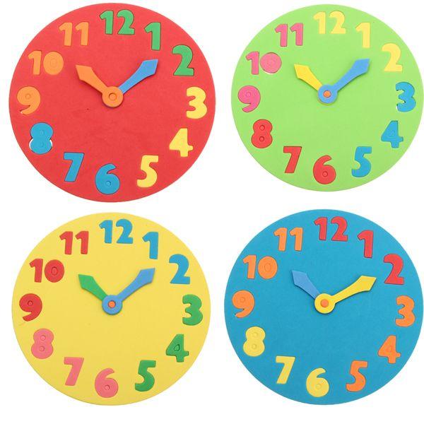 Número de espuma de tiempo de reloj niños rompecabezas bebé niños aprenden juguete educativo