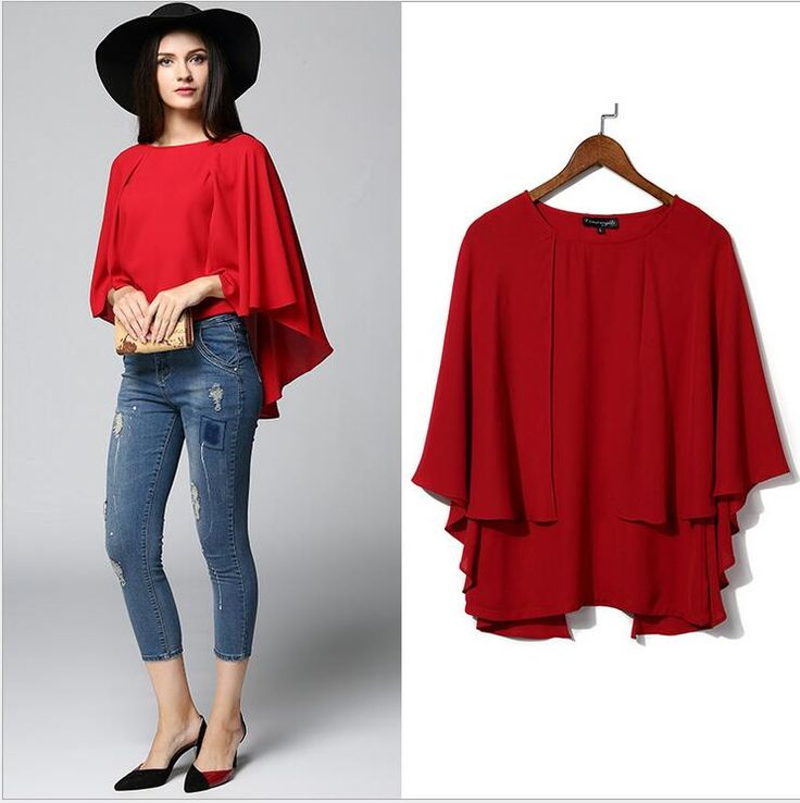 summer ladies tops Women's clothing plus-size half batwing sleeve big yards cape thin Blouses