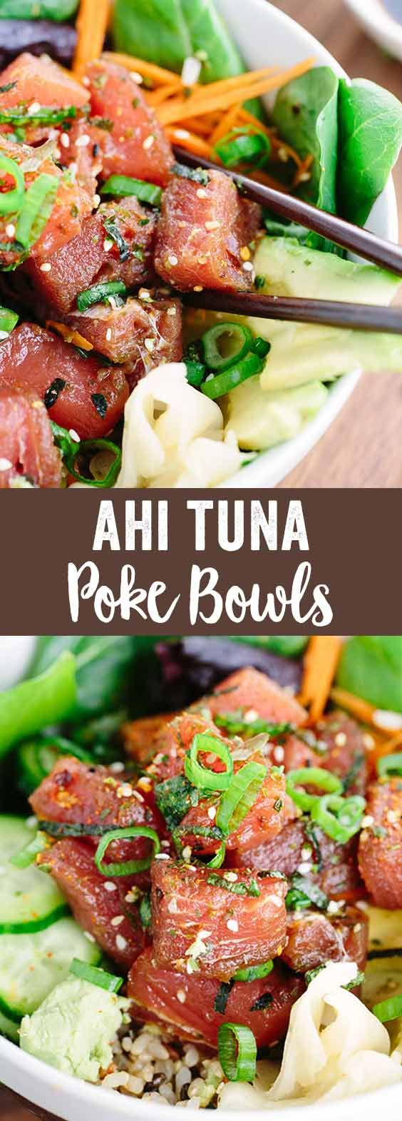Ahi Tuna Poke Bowl - This Japanese recipe is loaded with healthy brown rice, salad, vegetables and topped with marinated tuna poke. via @foodiegavin