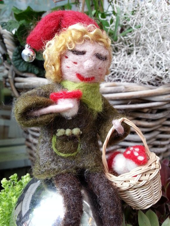 Pixie with Wicker Basket and Toadstool Mushrooms