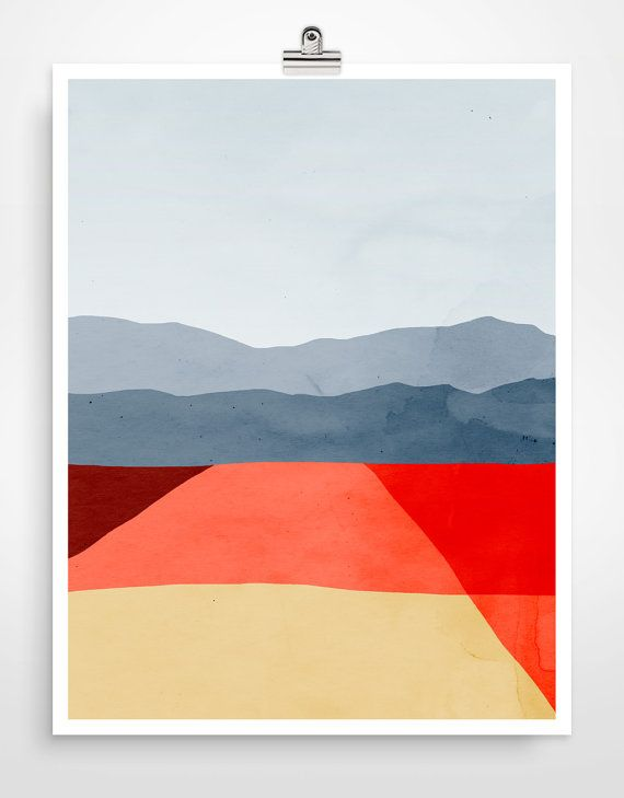 Abstract Landscape Wall Art Print Mid Century Modern by evesand