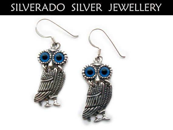Sterling Silver 925 Ancient Greek Goddess Athena's Owl Dangle Earrings FREE SHIPPING WORLDWIDE on Etsy, 30,00€