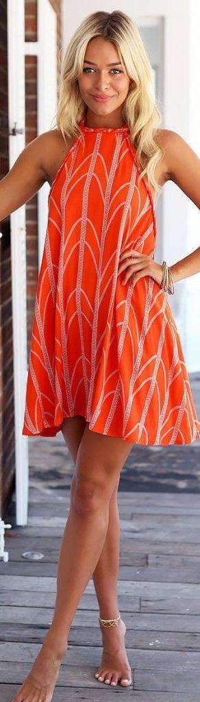 Orange Printed Halter Little Dress #Fashionistas