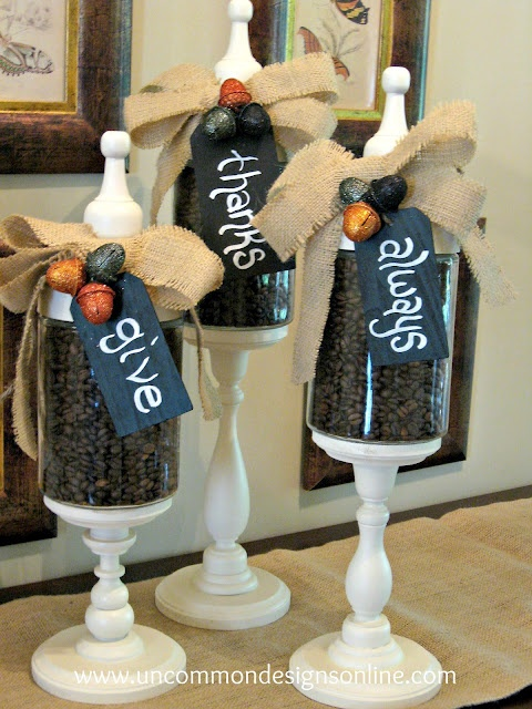 """Give Thanks Always"" Fall Apothecary Jars - DIY"