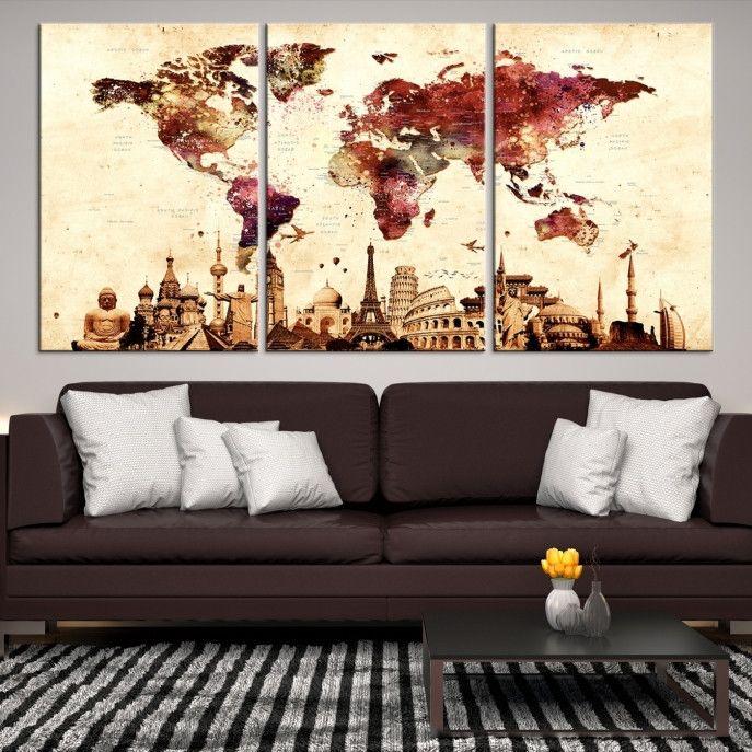 84118 - Large Wall Art World Map Canvas Print - Extra Large World Map Wall Art Canvas Print - World Map Wall Art Poster Print