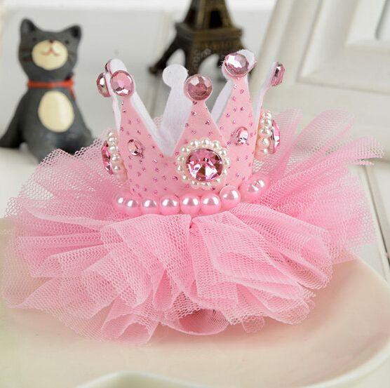 1 unids Dulce Lovely Girls Pinza de Pelo de la Perla de La Corona de Princesa Pink Tiaras Headwear Barrette accesorios para el cabello para la Celebración de días
