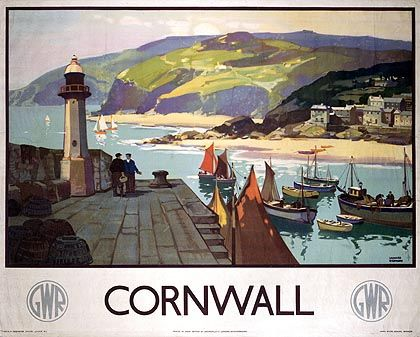 a poster with a harbour scene from Cornwall