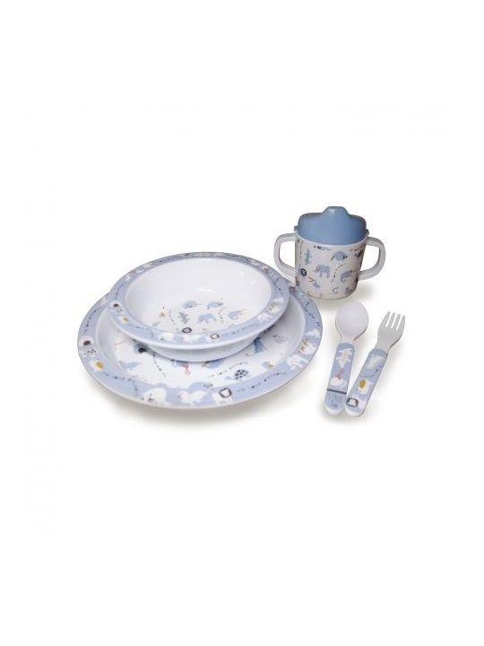 Vajilla melamina My Bag's Animales azules My Bag's Vajilla melamina Animales azules Vajilla diseñada por My Bag's para que tu bebé empiece a comer solo y a experimentar sus primeras texturas y sabores. Tiene unos bonitos estampados con los que podréis divertiros y jugar haciendo más entretenida la hora de la comida, además de sus colores brillantes y superficie no rugosa. La vajilla está compuesta por:  Un plato grande Un plato hondo Un vaso de tipo biberón, con