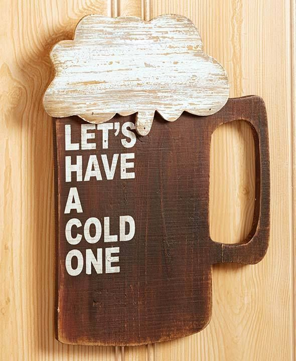 1 Beer Novelty Wood Wall Sign Rustic Art Man Cave Kitchen