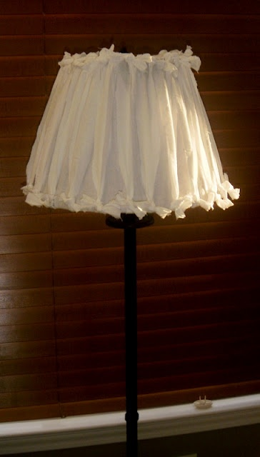tie strips of cotton top and bottom for this lamp shade