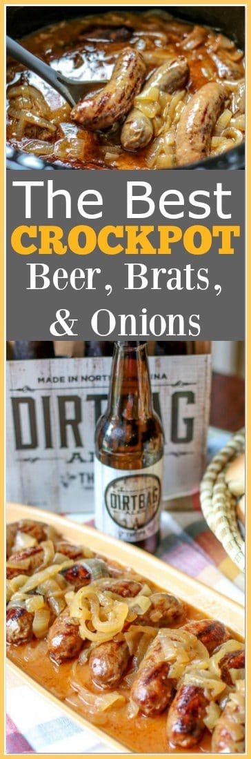 The Best Slow Cooker Beer Brats with Onions 47d42dfda6c402614607ea75e6ecd593
