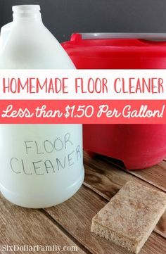Homemade Floor Cleaner - Tired of expensive floor cleaners that are full of who knows what? Give this homemade floor cleaner a try! Less than $1.50 per gallon and completely safe for kids, pets and everything in between!