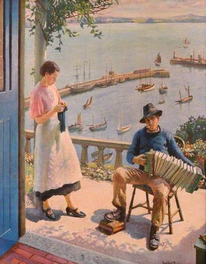 The Blue Door: Newlyn, 1934 by Harold Harvey (1874-1941):