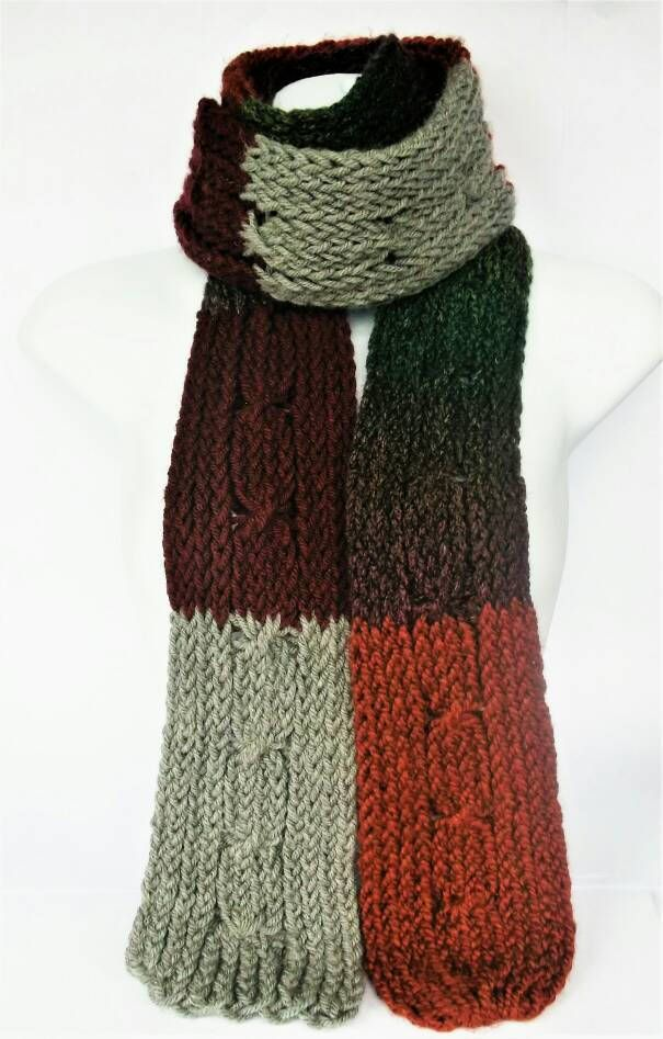 Cable knit scarf green cable scarf extra long scarf hipster