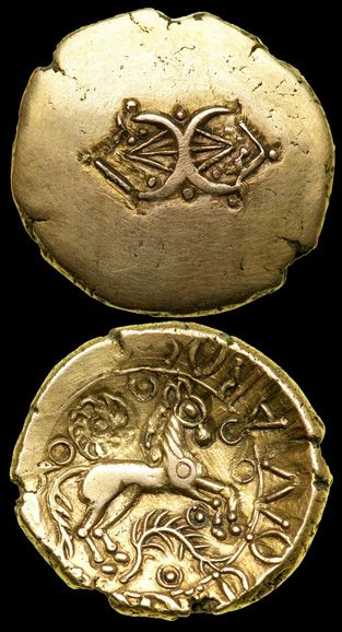 Celtic Gold Stater of Addedomaros. (S.202) Catuvellauni/Trinovantes tribes. Late 1st century BC. Obv - Addorsed crescents ornamented with pellets and linear elements. Rev - Horse, branch and spiral / wheel.