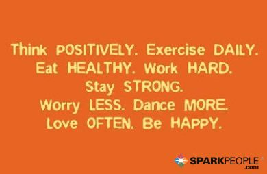 Motivational Quote - Think positively. Exercise daily. Eat healthy. Work hard. Stay