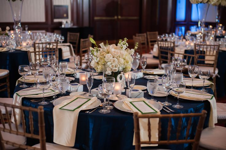 Navy Tables and White Floral Centerpieces