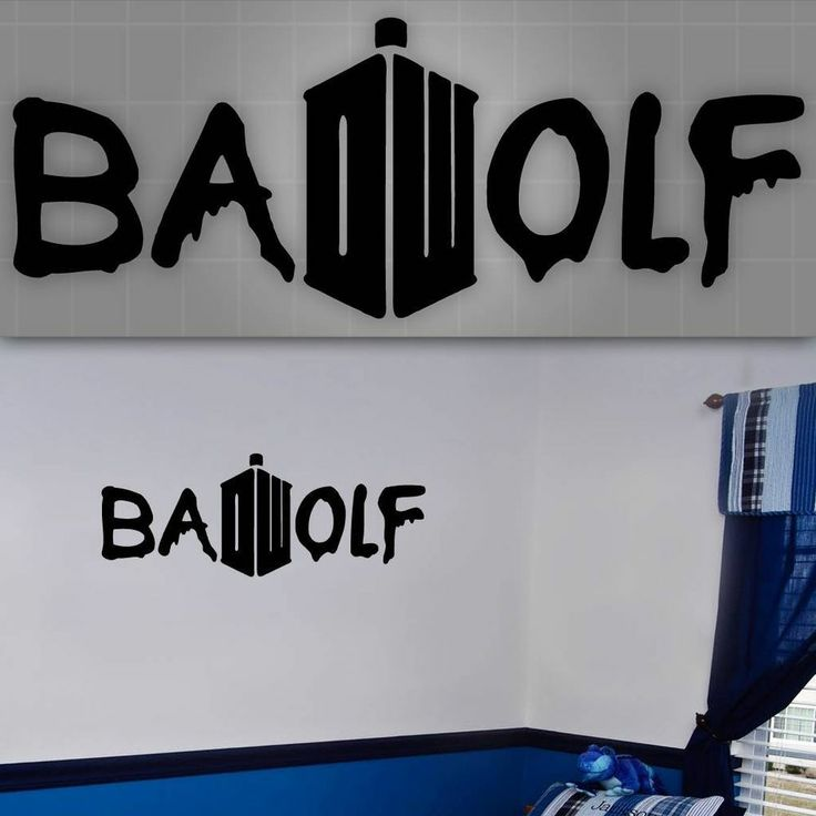 bad wolf wall decal doctor who style sticker kids room wall decor 48 x 20 - Dr Who Bedroom Ideas