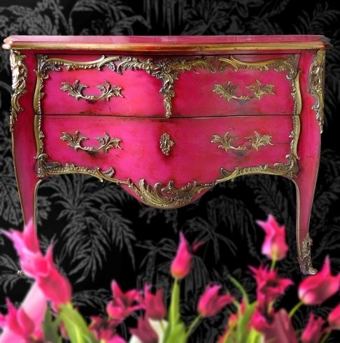 Love: Idea, Side Tables, Color, Old Dressers, Pink Dressers, Little Girls Rooms, Pink Furniture, Hot Pink, Pink And Gold