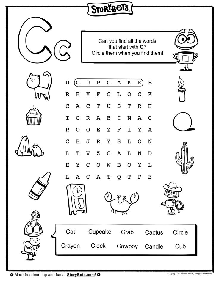 find words with letters letter c word find abc activity sheets storybots 1226