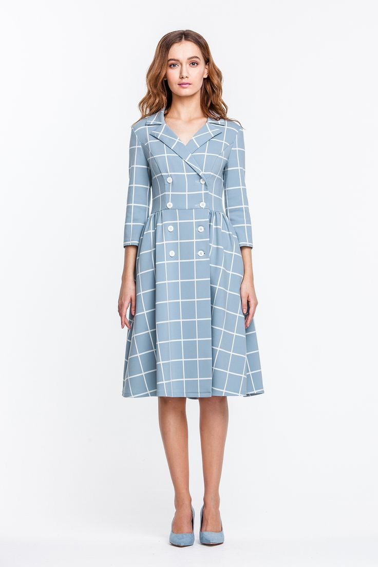 2292 Платье голубое в белую клетку, двубортное, ниже колена купить в Украине, цена в каталоге интернет-магазина брендовой одежды Musthave