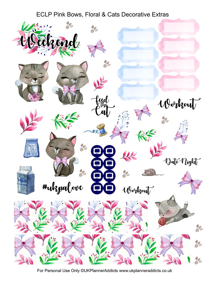 Pink Bows, Florals and Cats - Free Printable Planner Stickers | UK Planner Addicts