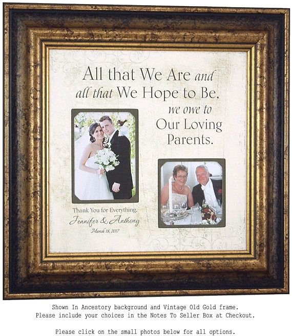 Personalized Picture Frame Wedding Gift For Parents and Father