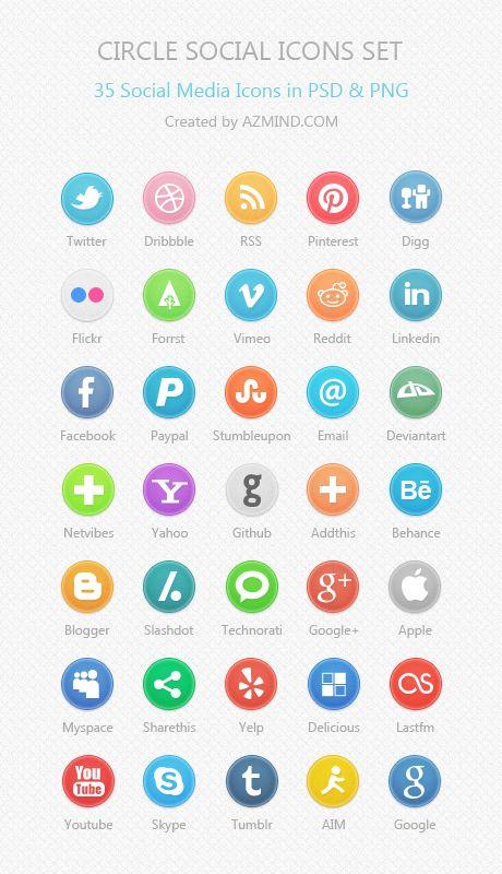 Circle Social Icons Set: 35 Social Media Icons in PSD & PNG