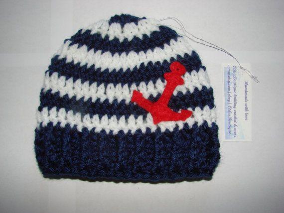 Crochet baby boy girl nautical hat beanie dark blue navy white stripes red felt anchor marine handmaded 0-3 months shower gift phopo prop on Etsy, $16.00