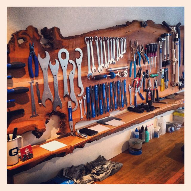 The New Wheel's tool board. Super sexy bicycle tool board. Do we know anyone who could get us a slice of tree like this? #bicycletoolboard #toolboards
