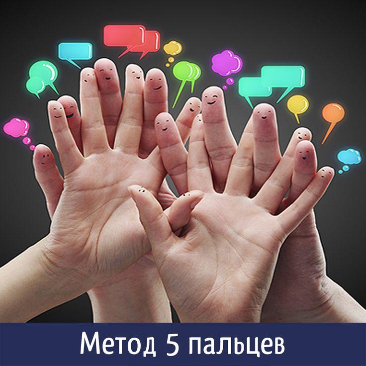 Метод 5 пальцев  ⠀ Если вы хотите добиться успеха в жизни, рекомендуем пользоваться этим методом каждый вечер! Метод «пяти пальцев», предложенный Л. Зайвертом, является простой и доступной техникой, в которой за каждым пальцем руки закреплен один из контролируемых параметров качества достижения цели. Достаточно лишь посмотреть на ладонь правой руки и по первым буквам названия пальцев вспомнить параметры, на основании которых осуществляется контроль.  ⠀ М (мизинец) — МЫСЛИ, знания…