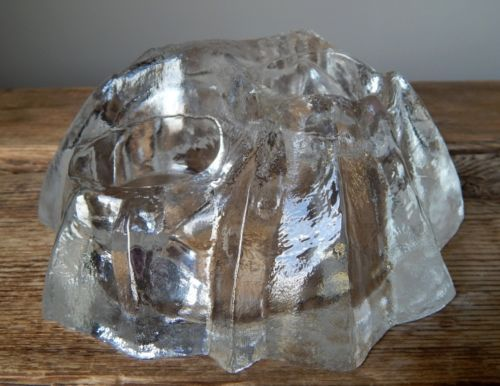 Labelled-Vintage-60-70s-MUURLA-Clear-Glass-Candle-Holder-Finland-Fat-Lava-Vase-E