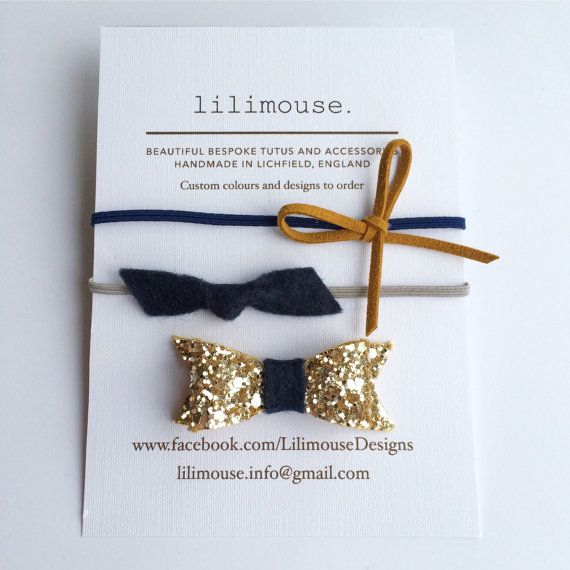 Baby headband & bow clip. 2 skinny headbands 1 by LilimouseDesigns