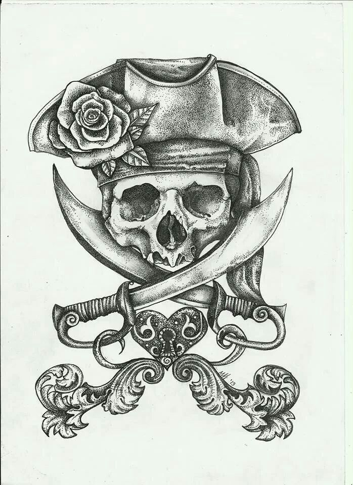 Pretty jolly roger tattoos for Skeleton pirate tattoo