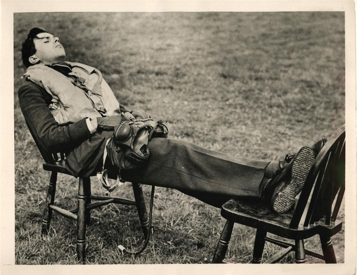 1940- Weary British R.A.F. pilot catches a quick nap between missions.  https://sites.google.com/site/warrenbellauthor/home