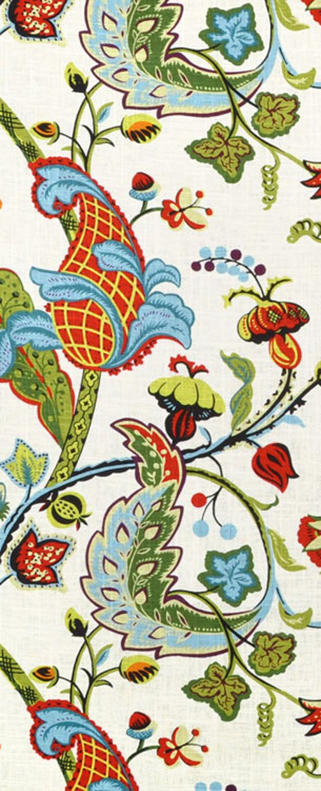 Covington Wilmington Multi Fabric for red, blue, yellow and green room decor or drapes.