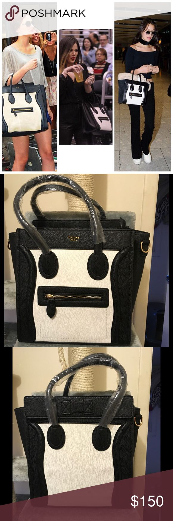 Large Black and White Fashion Bag Comes with logo. Comes with straps. As seen on celebrities such as Rihanna, Nicky Hilton, the Kardashian sisters, Jenner sisters, Hilary Duff, Dakota Fanning, Bella Hadid, Oprah, Miley Cyrus, Nicole Richie, Reese Witherspoon, Rashida Jones, Nicole Kidman, Jennifer Garner, Demi Lovato, Jennifer Lawrence and more!!! *price reflects authenticity* Material of Bag is PU Leather. Bags