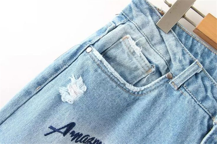 Women Letter Embroidery Denim Jeans Fashion Causal Jeans Ripped Girl's